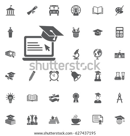Graduation cap and laptop icon illustration isolated vector sign symbol on the white background. Education Vector Icon Set