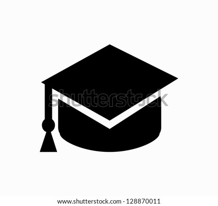 Graduation cap black icon vector