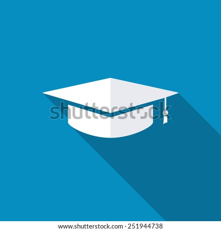 Graduation cap. Flat design style with long shadow