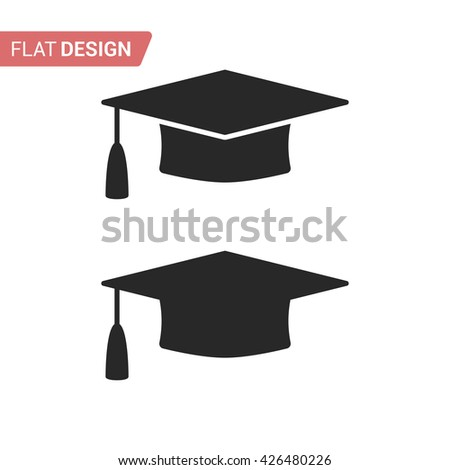 Graduation cap flat web icon. Silhouette graduation cap. Graduation cap isolated on background. Vector icon