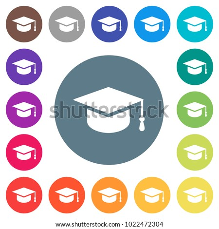 Graduation cap flat white icons on round color backgrounds. 17 background color variations are included.