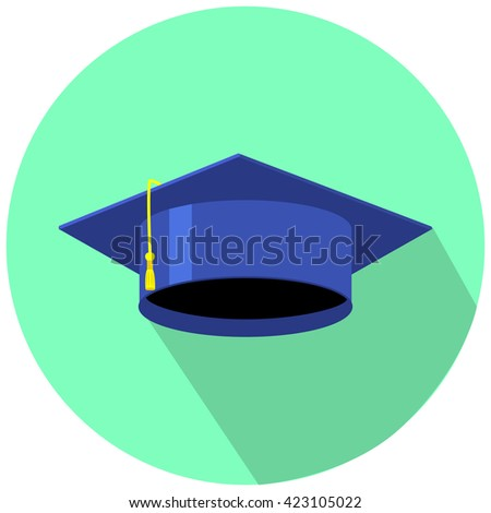 graduation cap for day vector illustration in flat style on green blue icon print sticker