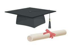 Graduation cap hat and certificate university academy diploma college bachelor prom icon element flat cartoon design vector illustration art
