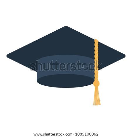 Graduation cap icon. Flat color design. Vector illustration.
