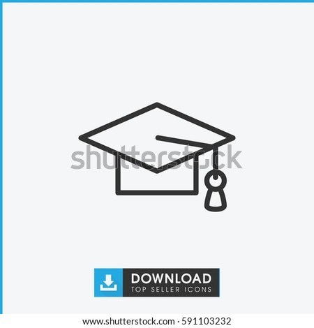 graduation cap icon. Simple outline graduation cap vector icon. On white background.