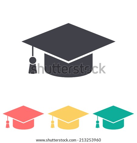 graduation cap icon , vector illustration