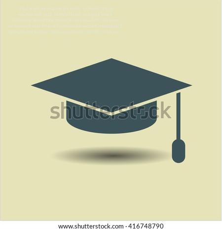 Graduation cap icon vector symbol flat eps jpg app