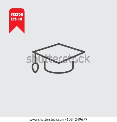 Graduation cap line icon vector