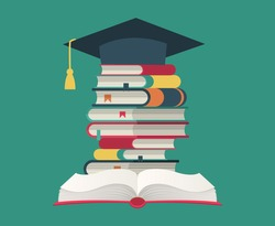 Graduation cap on book stack. Huge pile of books and encyclopedias, education and success concept, university library, academic and school knowledge flat cartoon isolated on green illustration