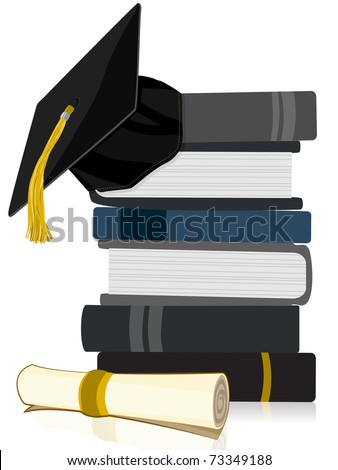 Graduation Cap on Book Stack with Diploma