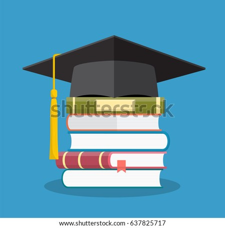 Graduation cap on books stacked, mortar board with pile of books, symbol of education, learning, knowledge, intelligence, vector illustration in flat style