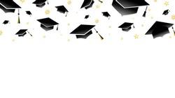 Graduation cap  on isolated on white background ,Congratulations Graduates Class 2020. Template for graduation design ,Vector illustration EPS 10