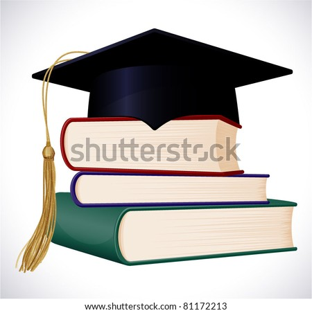 Graduation cap on stuck of books. Vector illustration.