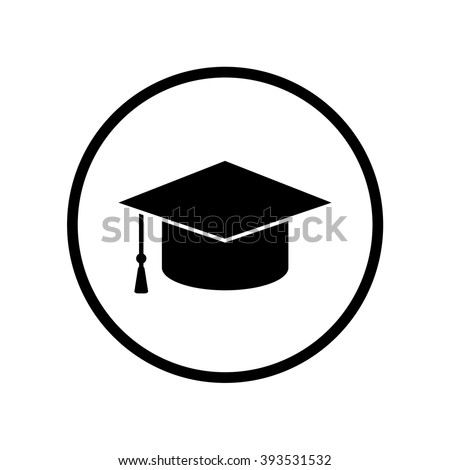Graduation cap or hat icon in circle . Vector illustration