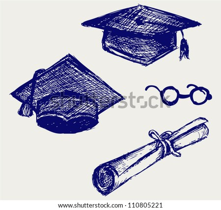 Graduation cap, points and diploma. Doodle style - stock vector