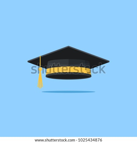 Graduation cap vector flat illustration