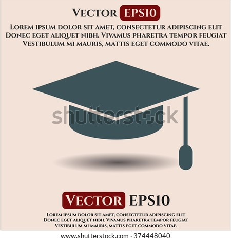 Graduation cap vector icon or symbol