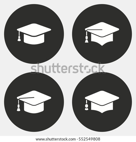 Graduation cap vector icon. White illustration isolated on black background for graphic and web design.
