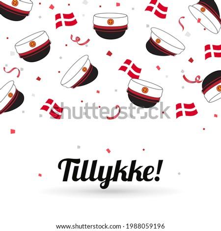 Graduation cap with flag of Denmark on confetti background. celebration card vector illustration. Danish Translation: ' Congratulations! ' Сток-фото ©