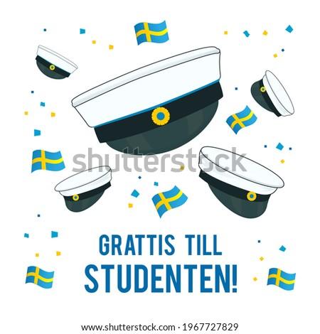 Graduation cap with flag of Sweden Greeting Card vector illustration. Swedish Translation: ' Congratulations on graduation! ' Foto stock ©