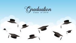 Graduation Caps in the Air. Graduate Background. vector illustration