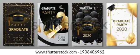 Graduation cards. Invitation and congratulation banners. Greeting postcards with black caps and degree diplomas, realistic balloons or confetti. Vector flyers set for graduate ceremony