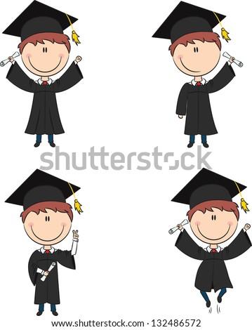 Graduation Cartoon Boy In Different Poses