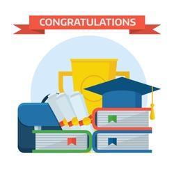 Graduation ceremony awards conceptual illustration. Graduation elements composition with graduate cap, school books, bag, golden cup. Graduation celebration concept.