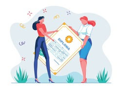 Graduation Ceremony Diploma, Vector Illustration. Holiday for Student, Receiving Certificate Graduation. Woman Hands Diploma to Student Girl. Women are Holding Huge Document, Cartoon.