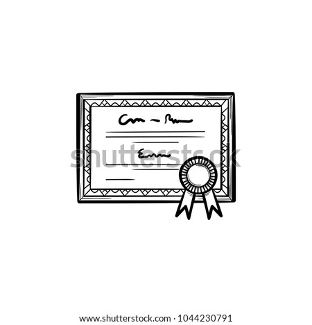 Graduation certificate hand drawn outline doodle icon. Diploma with award rosette vector sketch illustration for print, web, mobile and infographics isolated on white background.