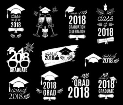 Graduation class of 2018 labels design set. Concept for shirt, print, seal, overlay, stamp, greeting card, invitation. Vector sign or logo. All isolated and layered