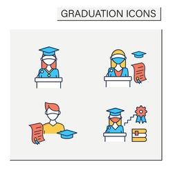 Graduation color icons set. Professional development. Academic career, undergraduate student, graduation speech, ceremony. Studying concept. Isolated vector illustrations