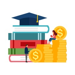 Graduation cost, expensive education,  scholarship loan budget, education savings and investment concept. Stack of books, dollar coins and graduation hat in flat design.
