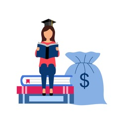 Graduation cost, expensive education, scholarship loan budget, education savings and investment concept. student sitting on stack of books with money bag in flat design.
