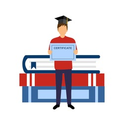 Graduation cost, get scholarship, education degree and certification concept. student holding certificate with stack of books on background in flat design.