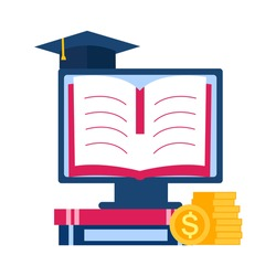 Graduation cost or fee, online scholarship, education loan budget, education savings and investment concept. Books, computer, stack of dollar coins and graduation hat in flat design.