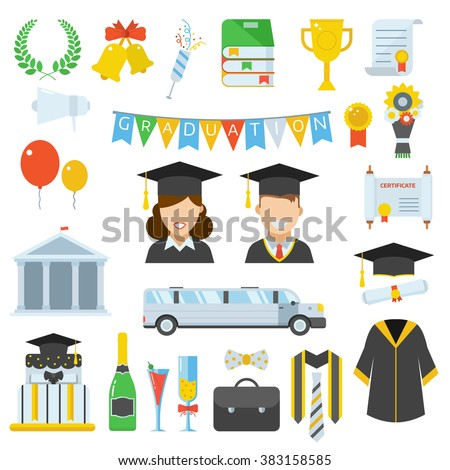 Graduation day vector icon set of celebration elements in flat design. Man and woman graduates in graduational hat. Student congratulation accessories. Graduation party. Finish education symbols.