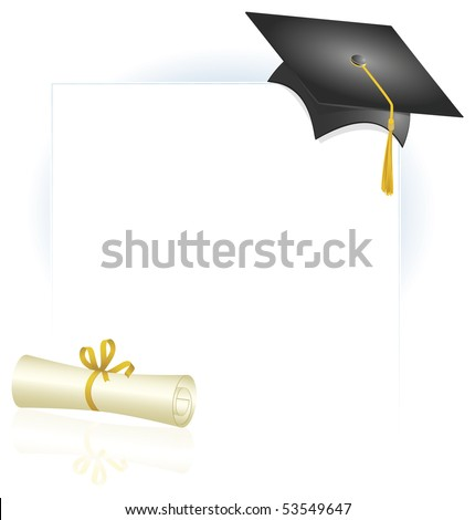 Graduation design with cap and diploma
