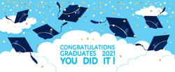 Graduation festive traditional outdoor ceremony throwing up academic hats. Grads caps flying in the air over the clouds, gold confetti. Congratulations graduates 2021, you did it vector banner, poster