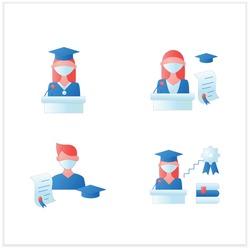 Graduation flat icons set. Professional development. Academic career, undergraduate student, graduation speech, ceremony. Studying concept. 3d vector illustrations