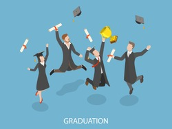 Graduation flat isometric vector concept. Happy students are jumping and rejoicing of throwing their hats and diplomas in the air.