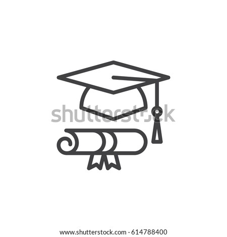 Graduation hat and diploma line icon, outline vector sign, linear style pictogram isolated on white. Symbol, logo illustration. Editable stroke. Pixel perfect