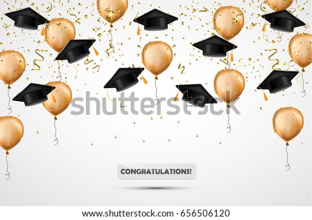 Graduation hat. Confetti and gold balloons. Vector illustration. Celebration background. Student cup.