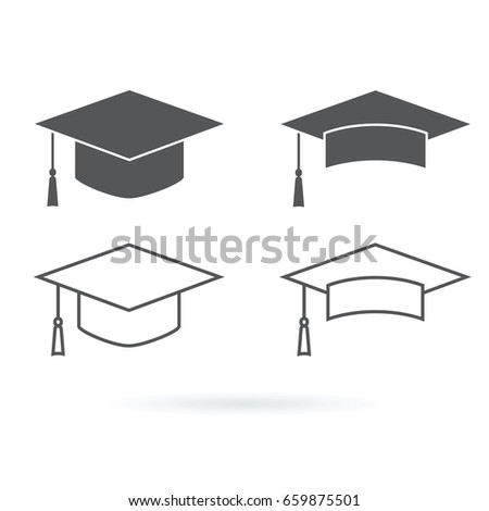Graduation hat vector icon isolated on white background. Education icons set with students hat line icons and minimalistic icons.