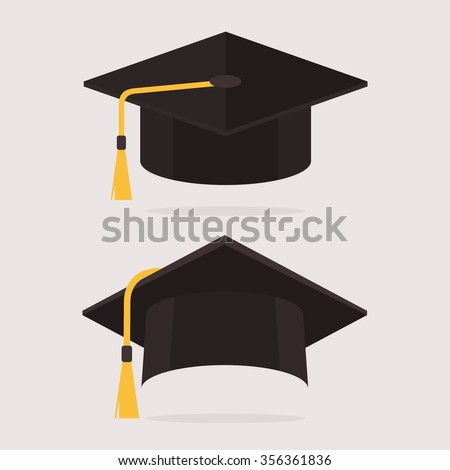 Graduation hat vector illustration in the flat style. Graduation cap isolated on the background.