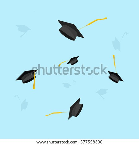 Graduation hats in the air vector illustration,  graduate caps trowing up in sky, flying academic hat,  flat cartoon style design isolated on blue background