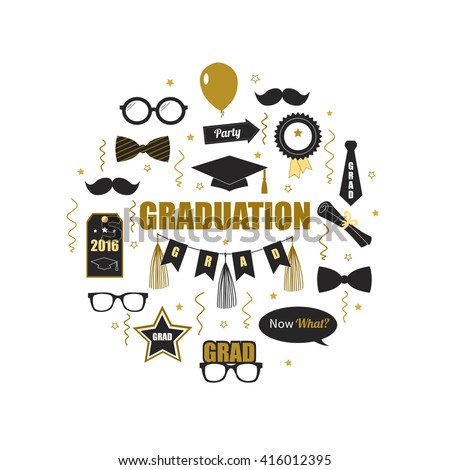 Graduation 2016 icon elements. Round design of gold and black icons for graduation party or ceremony invitation, greeting card design. T-shirt or accessories print. Vector flat.