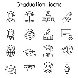 Graduation icon set in thin line style