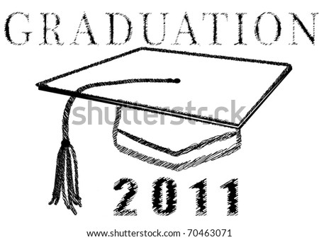Graduation 2011 in stylized drawing - stock vector