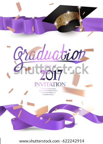 graduation 2017 invitation card with with purple curly ribbons, sparkling hat and confetti. Vector illustration